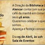 Convite de aniversário da biblioteca